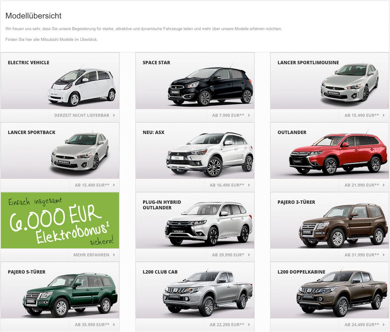 Mitsubishi Motors Modellübersicht
